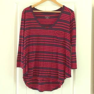 Merona Navy and Red Striped Top